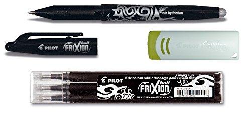 1 Frixion Ball schwarz + 3er-Set Mine + Radierer (+ extra Radierer, schwarz)