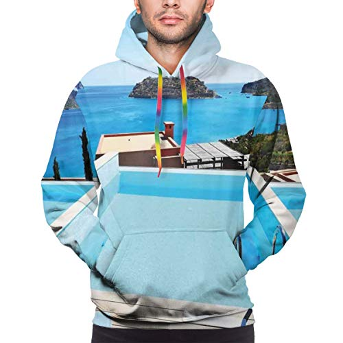 Men's Hoodies 3D Print Pullover Sweatershirt,Swimming Pool Hotel with A View Island Crete Greece Terrace Turquoise Sea,S
