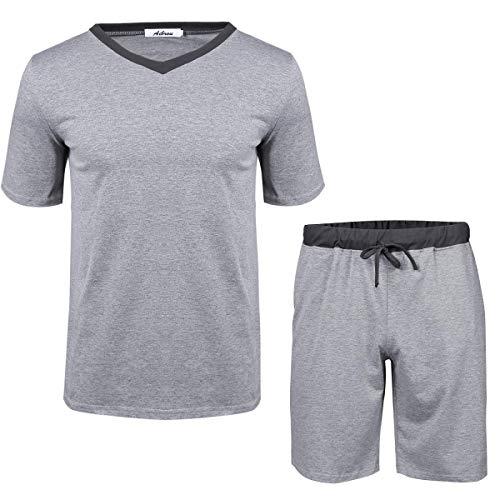 Abollria Pijama Hombre Verano Corto Set,Camiseta y