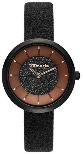 Tamaris Damen Analog Japanisches Quarzwerk Uhr mit Leder Armband TW048