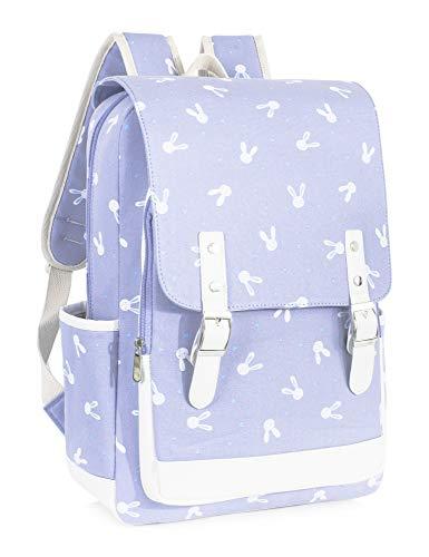 Leaper Bunny Backpack Laptop Backpack Rabbit Bag School Bag Satchel Purple L
