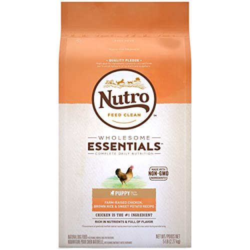 NUTRO WHOLESOME ESSENTIALS Puppy Natural Dry Dog Food, Farm-Raised Chicken, Brown Rice & Sweet Potato Recipe Dog Kibble, 5 lb. Bag