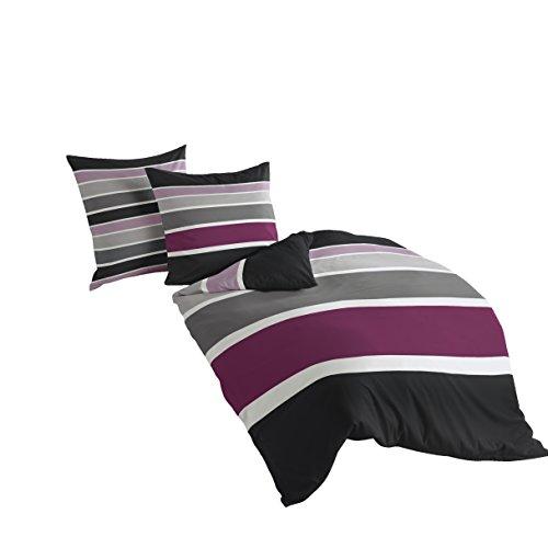 Bierbaum Bettwäsche 4757, Mako-Satin, Made in Germany, pink 71, 200x200 + 2x 80x80 cm, für das Doppelbett