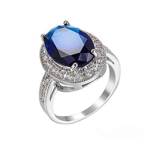 AnazoZ Anillos para Mujer Azul,Anillos Chapado Plata Mujer Oval Simple Cristal con Circonita Azul Anillo Talla 15