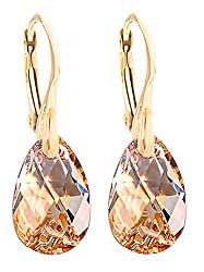 ♥AUTHENTICITY GUARANTEED Crystals From Swarovski Earrings. BRANDED LUXURY PACKAGING. ♥THE PERFECT GIFT Golden Shadow Pear Earrings Finished in Genuine Vermeil: 24k Gold Over Sterling Silver, Stamped 925. Gift Boxed. ♥SWAROVSKI CRYSTAL 16mm CRYSTAL SI...