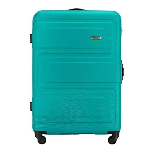 Stabiler Großer Koffer Trolley Koffer Reisekoffer von WITTCHEN ABS Hartschalen Trolley 4 Rollen Kombinationsschloss Türkis