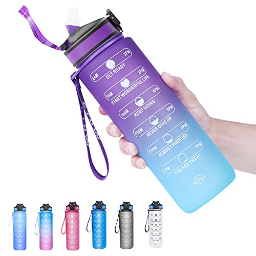 ETDW Trinkflasche 1L, 1000ml Wasserflasche Auslaufsicher, Sportflasche BPA-Frei Tritan Fahrradflasche mit Strohhalme & Zeitmarkierung ür Die Fahrrad, Outdoor, Schule, Gym
