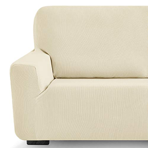 Eiffel Textile Milan - Funda de Sofa Elastica Adaptable Lisa, 94% poliéster 6% Elastano, Marfil, 2 Plazas