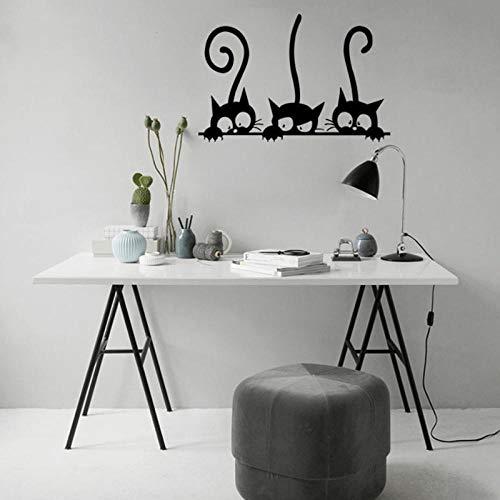 artaslf Tres gatos divertidos Animal Etiqueta de la pared Habitación de la casa PVC Etiquetas de la ventana Mural Decoración de bricolaje Extraíble 3D Pegatinas Decoración para el hogar-20 * 30cm