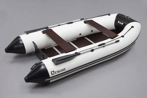 Bengar B-360 cm opblaasboot boot, visboot (wit/zwart) met houten bodem Baron