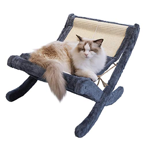 BingoPaw 猫ベッド ハンモック 置き型 折りたたみ 5キロ大型猫用 小型犬/うさぎ ソファーベッド フェルト生地 おもしろ おしゃれ もこもこ ふわふわ 爪研ぎ/猫用おもちゃボール付 冬/夏 通年 オールシーズン グレー
