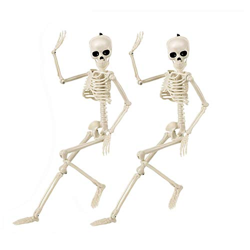 Halloween Skeletons Decorations Full Body Posable Joints 15'' Skeletons 2 Pack