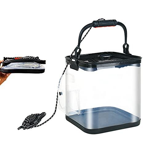 LINNHUE 釣り用 EVA透明バケツ バッカン 折り畳み式 5.5mロープ付き クリア 水くみバケツ メッシュカバー 魚が逃げない エアーポンプ収納付 (24cm*24cm 13L)