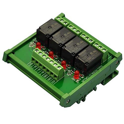 Electronics-Salon DIN Rail Mount 4 SPDT Power Relay Interface Modul, Omron 10 A Relais, 12 V Coil.