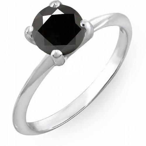 DazzlingRock Collection - Anillo Solitario de Compromiso para Mujer, Diamante Negro Redondo de 10 Quilates, Oro Blanco