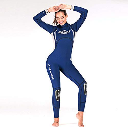 Huanxin Damen Neoprenanzug 3 mm, einteiliger Neoprenanzug zum Schnorcheln und Unterwasser, 3 mm superelastisches Neopren, Blau, M
