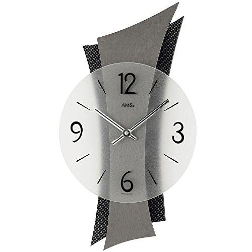 Cuarzo Diseño reloj de pared AMS 9400Salón Reloj Moderno con de carbono bordados cuarzo esfera Números árabes
