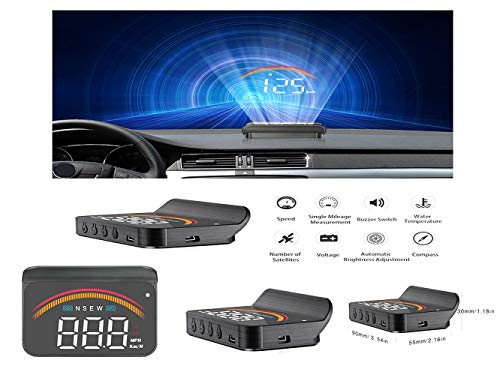 HUD Head Up Display Car Windshield HUD Head Up Display with Speed Fatigue Warning RPM MPH Fuel Consumption