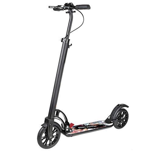besrey Scooter Erwachsene Kickscooter Tretroller Big Wheel Scooter 200mm ab 8 Jahre für Jugendliche und Erwachsene mit XXL Trittbrett und Fußbremse, Handbremse, Vollfederung - Schwarz