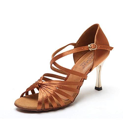 WDRSY Calzado De Danza para Mujer Zapatos De Baile para Mujer De Satén, Zapatos De Baile Latino para Mujer, Zapatos Cuadrados De Tacón Alto, Zapatos De Baile De Primavera Y Verano-B_41