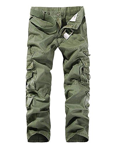 LaoZan Cargohose Herren Freizeithose Kampfhose Arbeitshose Mehrere Tasche Gras Armee-Grün 34