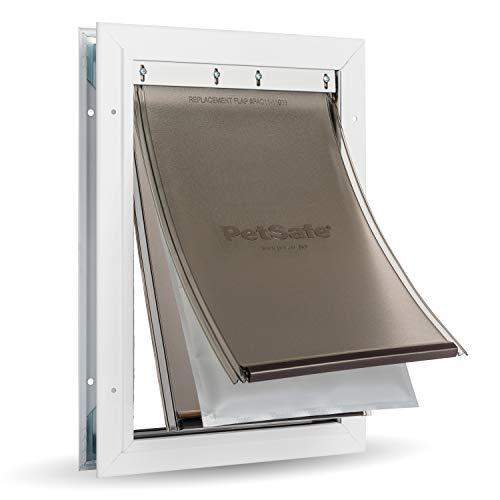PetSafe - Puerta para perros y gatos de Aluminio para Condiciones Climáticas Extremas, 3 Solapas contra Corrientes de Aire, Aluminio, Solapa Aislante,2 Opciones de Bloqueo, Panel de Bloqueo - L