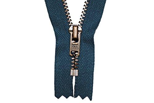 YKK Reißverschluss jeansblau 12 cm für Hosen Hosenreißverschluss 4 mm Metallzähne brüniert / dunkles Messing
