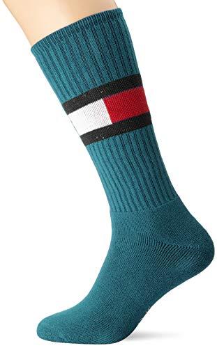 Tommy Hilfiger Unisex TH JEANS FLAG 1P Socke, Vielfarbig (Petrol Green), 39/42