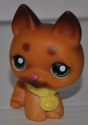 German Shepherd #357 (Tan, Dark Brown Accents, Green Eyes) Littlest Pet Shop (Retired) Collector Toy - LPS Collectible Replacement Single Figure - Loose (OOP Out of Package & Print)