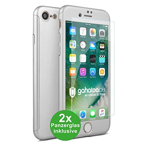 CASYLT iPhone 7 und iPhone 8 Hülle [inkl. 2X Panzerglas] 360 Grad Fullbody Premium Handy-Hülle Silber kompatibel für iPhone 7/8 Komplettschutz Hülle
