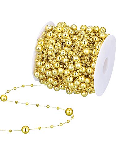 99 Feet Christmas Tree Beads Artificial Pearls Beads Garland Chain Plastic Bead Roll for DIY Christmas Wedding Decoration(Gold)