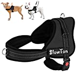 SlowTon No Pull Harness, Dog Vest Harness Front and Back Leash Connectors Two D Ring Harness Pet Harness Dog with Handle Respirant Rembourré Reflective Harnais Vest Reflective