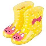 ADDYZ Primavera otoño lluvia botas de los niños animal patrón botines niños bebé niños PVC impermeable zapatos-24, amarillo