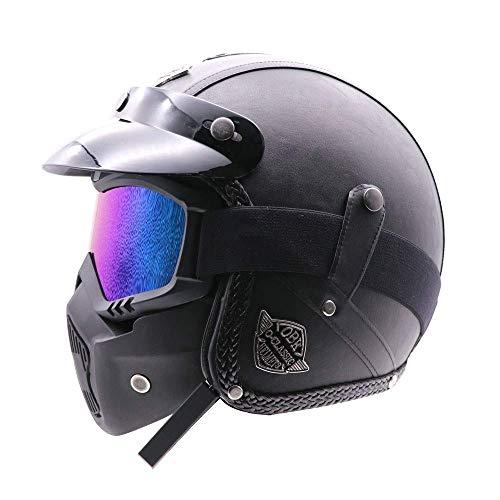 bottl Helmet Retro Helmet Handmade Retro Helmet Motorcycle 3/4 Leather Helmet Half Helmet Men and Women Half Helmet with Bluetooth Mask