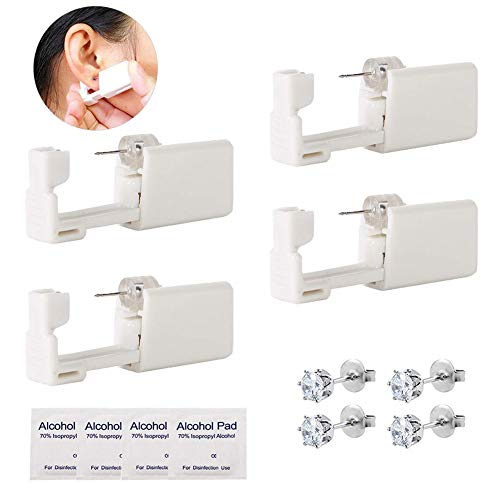 Ear Piercing Gun - Combofix 4 Pack Disposable Sterile Self Ear Piercing Kits Safety Ear Piercing Gun Kit Tool Ear Stud Gun with Alcohol Pad for Piercing Kit, Piercing Tool (4pcs-2)