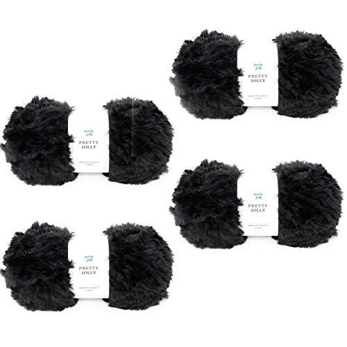 Pretty Jolly 4 bolas de lana de piel sintética súper suave y grueso hilo esponjoso para ganchillo tejer pestañas hilo de poliéster negro