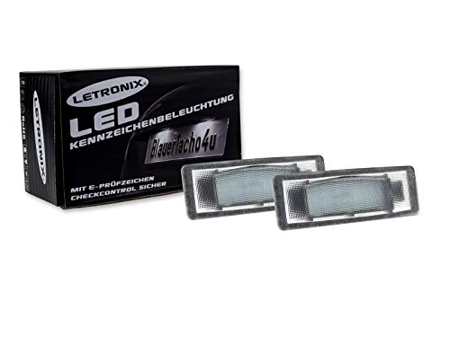 LETRONIX SMD LED Kennzeichenbeleuchtung Module geeignet für Tucson Facelift / i40 Stufenheck-Limousine/Sportage Typ QL/Ceed/ProCeed/Ceed GT/Typ CD/Stonic/e-Soul mit E-Prüfzeichen