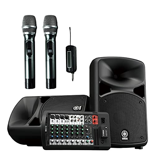 YAMAHA STAGEPAS 600BT All-in-One 680W Bluetooth PA System with ACESONIC UHF-920 900MHz Dual Wireless Microphones for PA, Karaoke, KTV, Party, Outdoor Event, and more