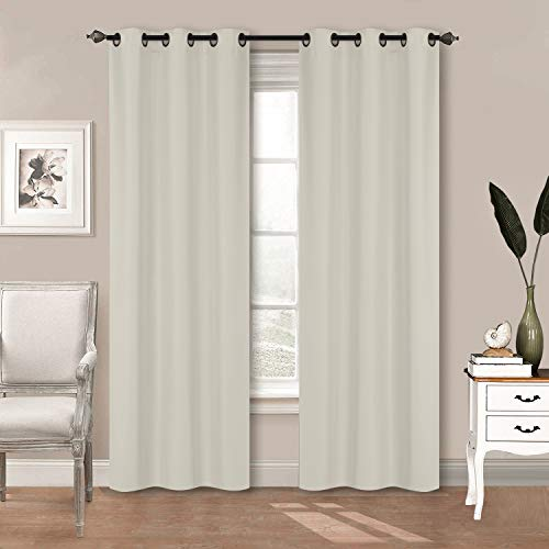 """Home Collection 2 Panels 100% Blackout Curtain Set Solid Color with Rod Pocket Grommet Drapes for Kitchen, Dinning Room, Bathroom, Bedroom ,Living Room Window New (74"""" Wide X 83"""" Long, Ivory)"""