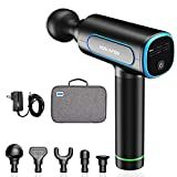 Hoslafon Portable Muscle Massage Gun Professional Deep Tissue Percussion Electric Massagers Fascia Gun Help Athlete Muscle Pain Relief Recovery with 5 Massage Heads for Foot Back Leg Handheld Massager