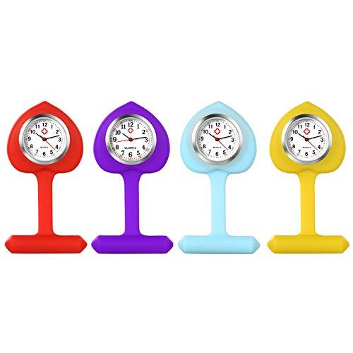 Lancardo Reloj Enfermera con Cubierta Silicona en Forma de Corazón Reloj de Bolsillo Médico de Heart Shape de Movimiento Cuarzo NO Impermeable Reloj con Dial de Báscula Digital 4 Pcs Sets