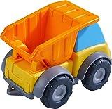 HABA 305180 - Spielzeugauto Muldenkipper, Baustellenfahrzeug für Kinder ab 2 Jahren für drinnen und draußen, Lastwagen 13 cm mit Mulde zum Transportieren und Abladen