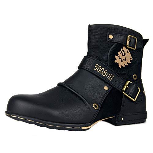 OSSTONE Stivali Cowboy Biker in Pelle Scivolare su Punta Quadrata Lunghezza di Vitello Tacco Western Uomo Stivali Invernali Piatto Caviglia Stivaletti Botas Boots 5008-1-N Black 8.5