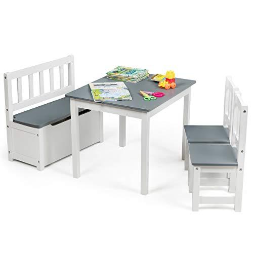 COSTWAY 4 TLG. Kindersitzgruppe Holz, Kindertisch Stühlen Sitzbank mit Stauraum, Sitzgruppe Kinder, Kindertischgruppe, Kindermöbel Kindersitzgarnitur (Grau)