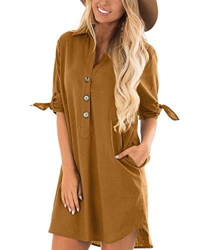 Cnfio - Blusa de verano para mujer, elegante, cuello de pico, manga larga, media manga, un solo color, diseño de camisa corta, minivestido de playa amarillo XL