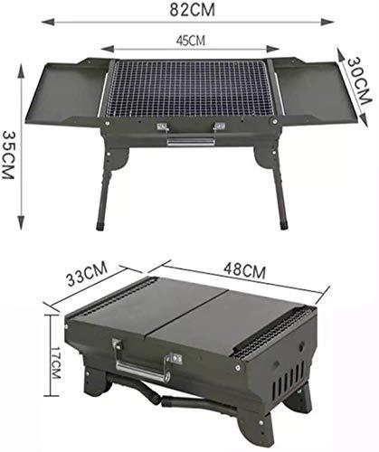 41cZZb29BEL. SL500  - ZCxiyu Grill faltbar tragbarer Camping BBQ Outdoor Iron Folding Picknick Zubehör für 12 Personen Praktisch/Grün / 82x30x35cm (Color : Green, Size : 82x30x35cm)
