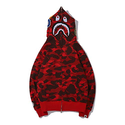 yur67 Men's Camouflage Bape Shark Mouth Casual Hoodie