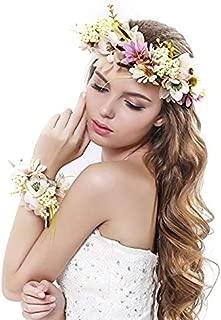 Mydio Fairy Flower Headband Pink Hair Wreath Floral Flower Crown Bridal Headpiece with Ribbon Headband Wrist Band Set (1)