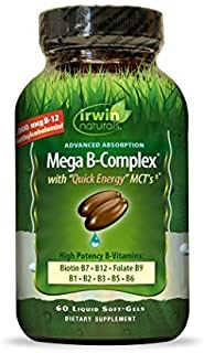Irwin Naturals, Mega B Complex with Quick Energy MCT's, 60 Liquid Soft-Gels by Irwin Naturals