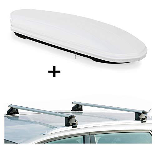 Dachbox VDPMAA460 460Ltr weiß abschließbar + Dachträger CRV107A kompatibel mit Dacia Lodgy (5 Türer) ab 2012